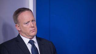 Sean Spicer, porte-parole de la Maison Blanche, le 12 juin 2017, à Washington (Etats-Unis). (NICHOLAS KAMM / AFP)
