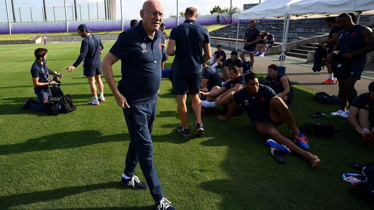 Le président de la Fédération française de rugby, Bernard Laporte, en septembre 2019, lors de la coupe du monde de rugby, au Japon. (FRANCK FIFE / AFP)