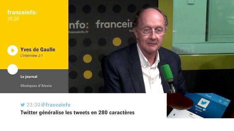 Yves de Gaulle, petit-fils du général de Gaulle, était l'invité de L'interview J-1, mercredi 8 novembre sur franceinfo. (FRANCEINFO / RADIOFRANCE)