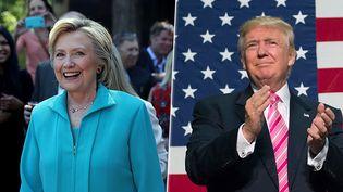 Les candidats à la Maison Blanche Hillary Clinton et Donald Trump, respectivement à Reno et Fredericksburg (Etats-Unis), les 25 et 20 août 2016. (AFP)