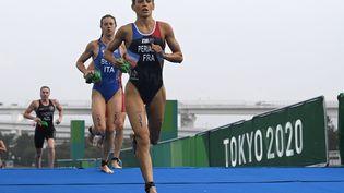 La Française Léonie Périault à l'occasion du triathlon olympique de Tokyo, mardi 27 juillet. (CROSNIER JULIEN / AFP)