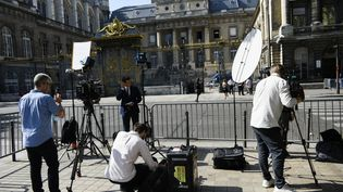 La façade du palais de justice de l'île de la Cité, à Paris, où se déroule le procès des attentats du 13-Novembre, le 8 septembre 2021. (MAGALI COHEN / HANS LUCAS / AFP)