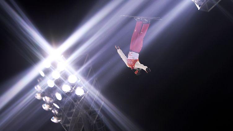 Mischa Gasser, skieur suisse engagé sur l'épreuve de saut acrobatique aux Jeux d'hiver deCorée du Sud, le 17 février 2018. (LOIC VENANCE / AFP)