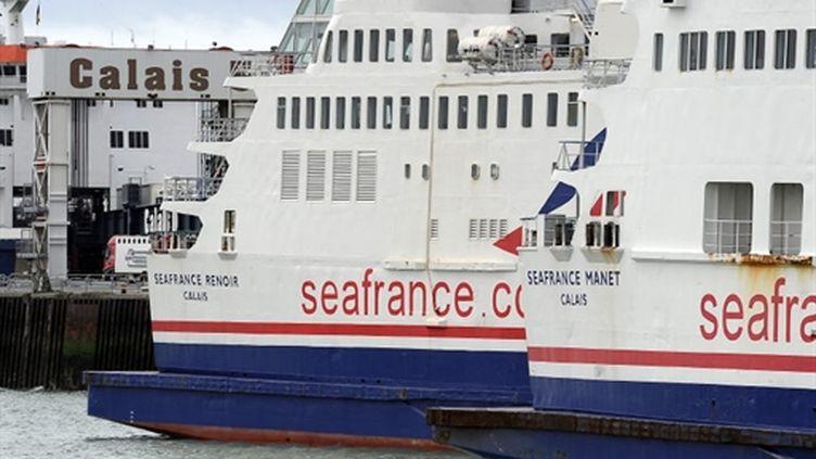 Deux ferries de la compagnie Seafrance à quai au port de Calais (AFP - Philippe HUGUEN)
