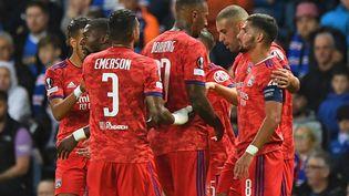 Les Lyonnais ont fait le break face aux Glasgow Rangers, jeudi 16 septembre 2021. (ANDY BUCHANAN / AFP)