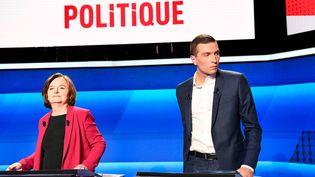 Les têtes de liste LREM et RN, Nathalie Loiseau et Jordan Bardella, le 4 avril 2019 à Paris. (BERTRAND GUAY / AFP)