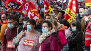 Des manifestants défilent pour le pouvoir d'achat à Rennes (Ille-et-Vilaine), le 5 octobre 2021. (MAXPPP)