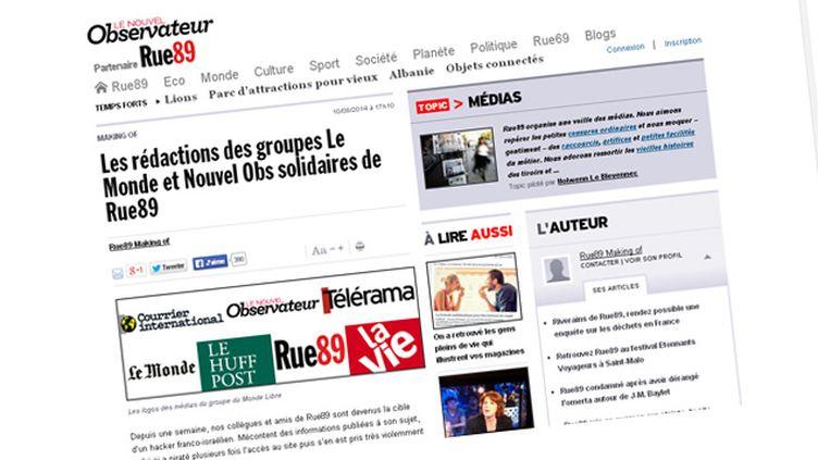 (Le soutien du Monde et du Nouvel Observateur à Rue89 © Capture d'écran Rue89)