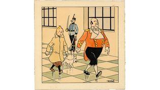 Hergé, Le Sceptre d'Ottokar. Encre de Chine et aquarelle pour le dessin de couverture du journal le Petit Vingtième publié le 14 février 1939.  (Artcurial)