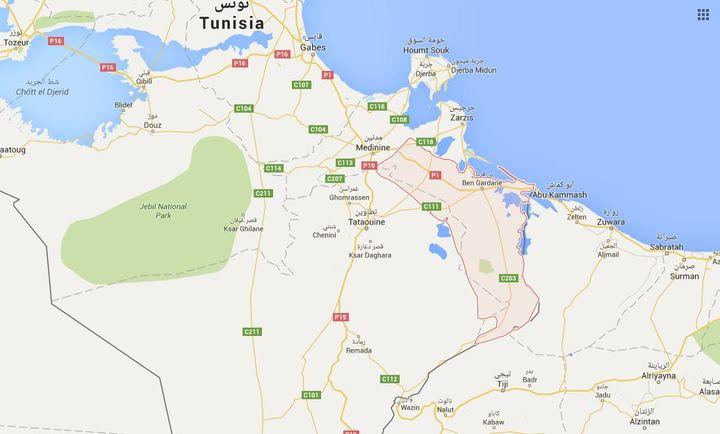 La ville de Ben Guerdane, en Tunisie. (GOOGLE MAP)