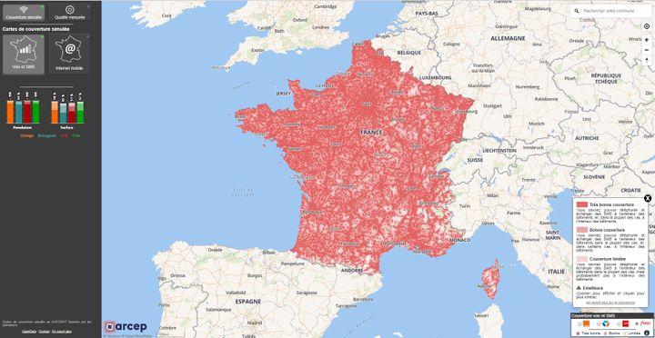 Capture d'écran de la carte interactive mise en ligne par l'Autoritéde régulation des télécoms. (ARCEP / MONRESEAUMOBILE.FR)