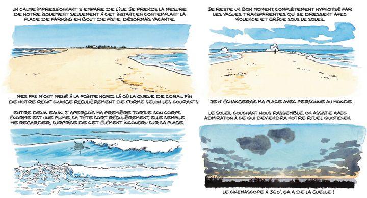 """Grandes promenades sur l'île pour l'auteur de la BD. Planche extraite de la bande dessinée """"Les Esclaves oubliésde Tromelin"""" par Savoia. (© DUPUIS 2019)"""