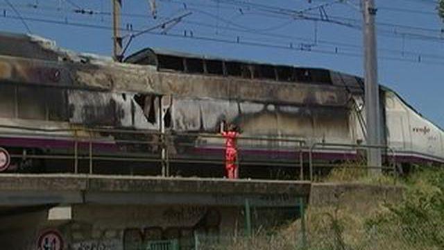 Lunel : la locomotive d'un TGV espagnol prend feu