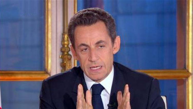 Nicolas Sarkozy, interrogé en direct sur France 2, le 16 novembre 2010. (France 2)
