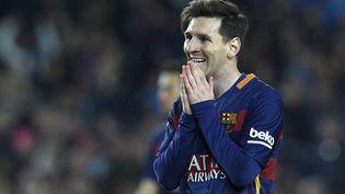 Le footballeur argentin Lionel Messi le 2 avril 2016, lors d'un match disputé avec son club du FC Barcelone (Espagne). (LLUIS GENE / AFP)