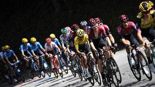 Les coureurs du Tour de France lors de la 20e étape entre Albertville et Val Thorens (Savoie), le 27 juillet 2019. (JEFF PACHOUD / AFP)