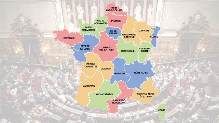 La commission spéciale du Sénat chargée de la réforme territoriale a dessiné une nouvelle carte des régions, le 21 octobre 2014. (MAXPPP / SENAT)