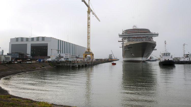 Un des sites de construction des Chantiers de l'Atlantique, à Saint-Nazaire. (illustration) (THOMAS BREGARDIS / AFP)