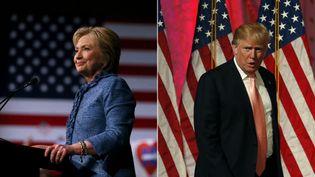Hillary Clinton, candidate aux primaires démocrates, et Donald Trump, candidat aux primaires républicaines, s'expriment lors d'une nouvelle soirée électorale à Palm Beach, en Floride (Etats-Unis), le 15 mars 2016. (AFP / FRANCETV INFO)