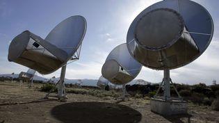 Des antennes radio du Allen Telescope Array,un projet de l'institut SETI qui vise à détecter des signaux extraterrestres, à Hat Creek(Californie, Etats-Unis), le 9 octobre 2007. (BEN MARGOT / AP / SIPA)