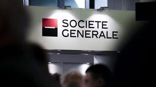 Un stand de la Société générale lors du salon d'entreprises Actionaria, à Paris, le 23 novembre 2017. (MAXPPP)