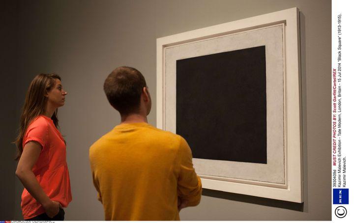 """""""Carré blanc"""", de Kasimir Malevitch, exposé à la Tate Modern, à Londres, le 15 juillet 2014. (SCOTT GARFITT / CARTEL / REX / SIPA)"""