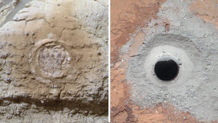 Photo du minerai extrait par le robot Curiosity, qui permet à la Nasa d'indiquer, mardi 12 mars 2013, que de la vie a pu existersur Mars. (NASA / AFP)