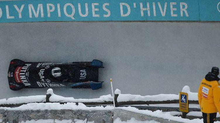 Le bobsleigh américain lors des répétitions sur la piste de Sotchi