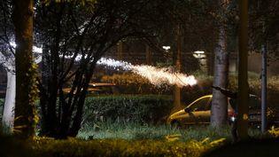 """Un individu tire un feu d'artifice dans le secteur dit de """"la Banane"""", à Villeneuve-la-Garenne (Hauts-de-Seine), le 21 avril 2020. (GEOFFROY VAN DER HASSELT / AFP)"""
