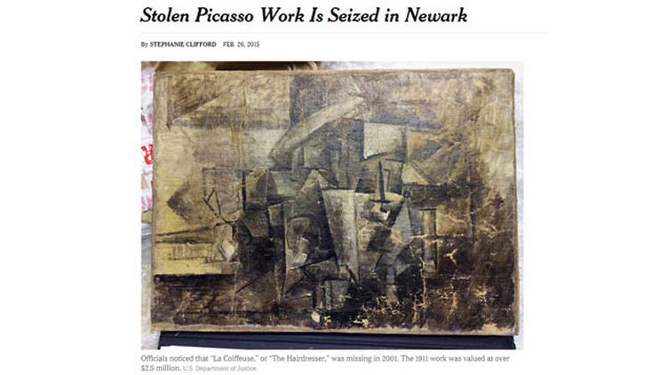 """(""""La Coiffeuse"""" de Picasso retrouvé aux Etats-Unis © capture site New York Times / ministère de la Justice)"""