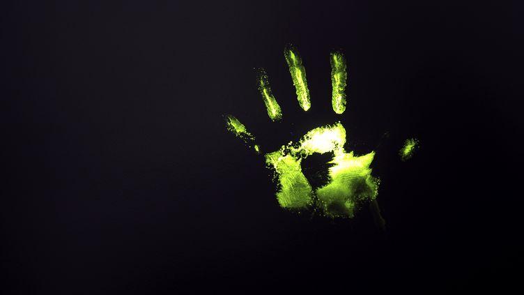 Une empreinte de main aspergée d'ADN chimique, révélée par unelampe à ultraviolets, le 30 novembre 2011 à Paris. (FRANCK FIFE / AFP)