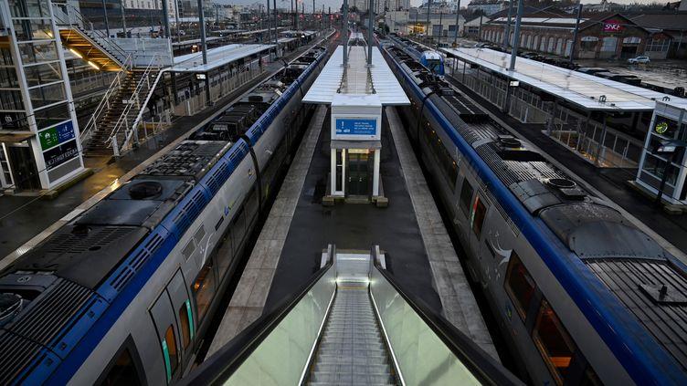 Des TER sont à quai en gare de Rennes (Ille-et-Vilaine), le 9 décembre 2019. (DAMIEN MEYER / AFP)