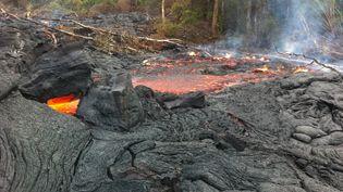 La coulée de lave du volcan Kilauea atteint une maison dans la petite ville de Pahoa à Hawaï (Etats-Unis), le 13 Novembre 2014. ( ELIAS NIR / REUTERS )