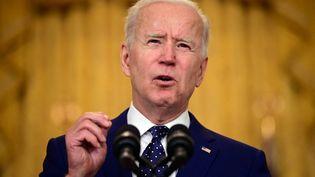 Le président américain, Joe Biden, le 15 avril 2021 à la Maison Blanche, à Washington. (JIM WATSON / AFP)