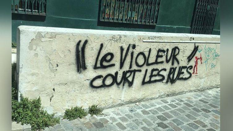 """Photo tweetée parNeon Magazineà propos de l'auteur du graff """"L'amour court les rues"""", contre lequel 25 victimes présumées ont porté plainte pourviols et agressions sexuelles. (CAPTURE D'ÉCRAN)"""