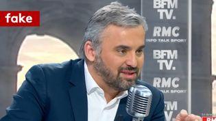 """Alexis Corbière, député La France Insoumise et porte-parole de Jean-Luc Mélenchon, dans """"Bourdin Direct"""" sur BFMTV et RMC, lundi 5 mars 2018. (BFMTV)"""
