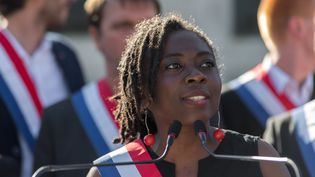 La députée de La France insoumiseDanièle Obono, le 3 juillet 2017, à Paris lors d'un rassemblement de son mouvement. (JULIEN MATTIA / NURPHOTO / AFP)