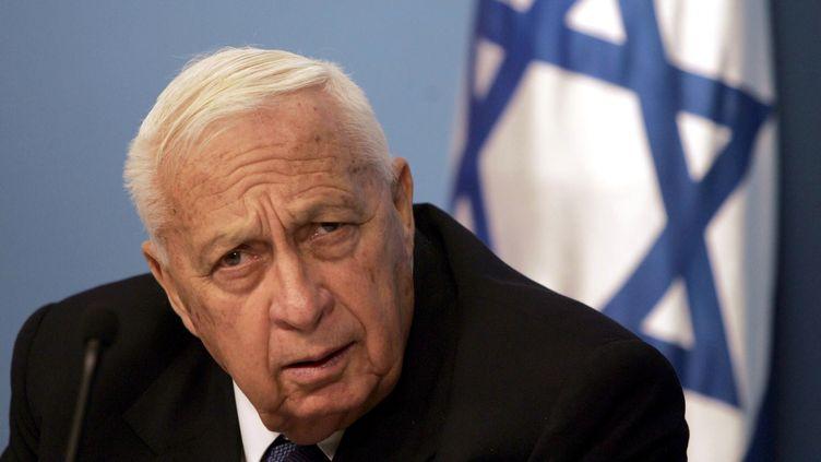 Ariel Sharon, alors chef du gouvernement israélien, le 16 novembre 2005 lors d'une conférence de presse à Jérusalem. (MENAHEM KAHANA / AFP)