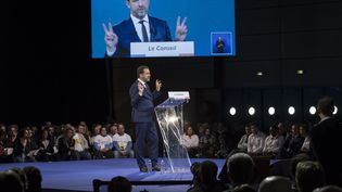 Christophe Castaner a été élu délégué général de LREM pour trois ans, samedi 18 novembre 2017, à Lyon (Rhône). (JEAN-PHILIPPE KSIAZEK / AFP)