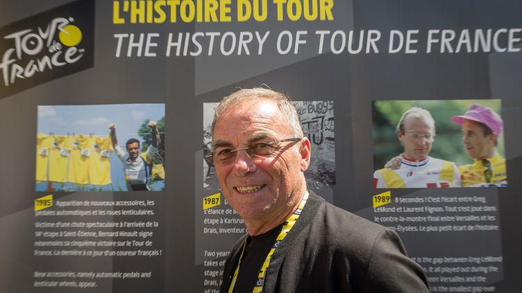 L'ancien champion Bernard Hinault, le 4 juillet 2019 à Bruxelles, deux jour avant le départ du 106e Tour de France. (JAMES ARTHUR GEKIERE / BELGA)