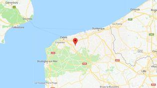 Un migrantérythréen de 31 ans est mort dans un accident de camion, à Nortkerque (Pas-de-Calais), vendredi 29 décembre 2017. (GOOGLE MAPS)