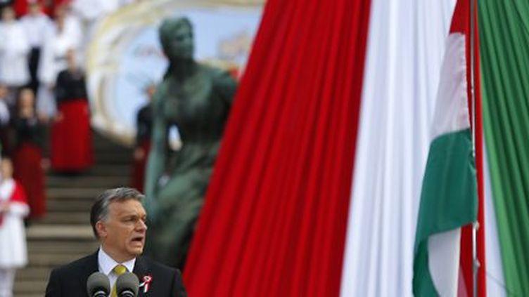 Discours de Viktor Orban le 15 mars 2015 à Budapest, à l'occasion des festivités organisées pour l'anniversaire de la révolte hongroise contre les Habsbourg en 1848. (REUTERS - Laszlo Balogh)