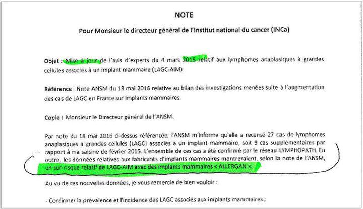 """Note du directeur général de la Santédejuin 2016 alertant sur """"le sur-risque relatif"""" de cancer de type LAGC avec des implants mammaires Allergan. (DR)"""