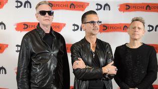 Andrew Fletcher, Dave Gahan et Martin Gore de Depeche Mode à Milan, pour annoncer leur nouvel album et une tournée (11 octobre 2016)  (Lena Klimkeit / DPA / AFP)