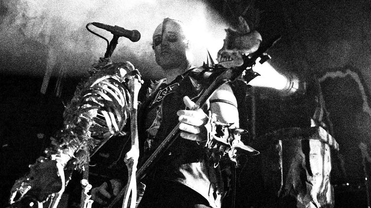 Jerry Only bassiste des Misfits en 2012, donc dans la formation d'après la séparation, sansGlenn Danzig.  (Al de Perez/PHOTOSHOT/MAXPPP)