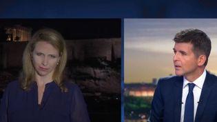 Le Premier ministre grec a annulé ses vacances pour suivre l'évolution du feu. La Grèce a demandé à ses voisins européens de l'assister. Notre journaliste Alexia Kefalas était sur place à Athènes. (FRANCE 2)
