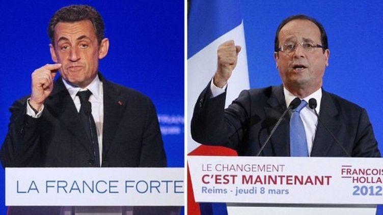 Dernière ligne droite cruciale avant le premier tour pour Nicolas Sarkozy et François Hollande. (PATRICK KOVARIK RAYMOND ROIG / AFP)