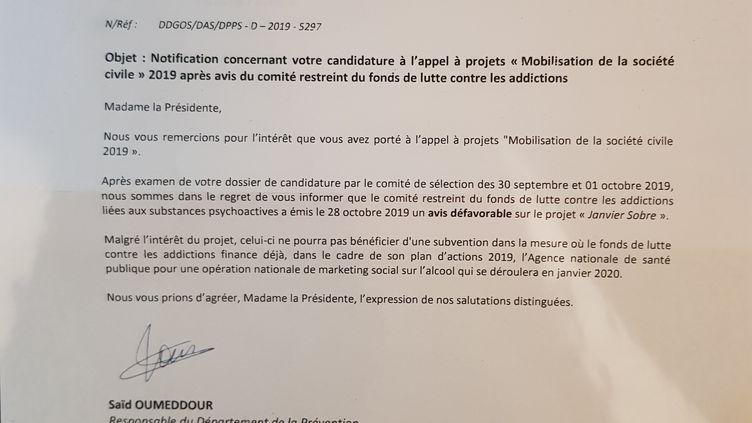Lettreadressée à Laurence Cottet, présidente de l'association Méthode H3D, qui lutte contre l'alcoolisme. (FRANCEINFO / RADIOFRANCE)