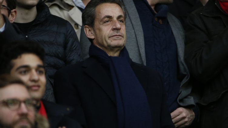 Nicolas Sarkozy, le 20 février 2016 au Parc des Princes à Paris. (THOMAS SAMSON / AFP)