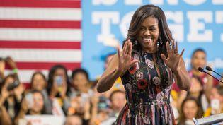 Michelle Obama, le 16 septembre 2016 à Fairfax en Virginie (Etats-Unis). (ZACH GIBSON / AFP)